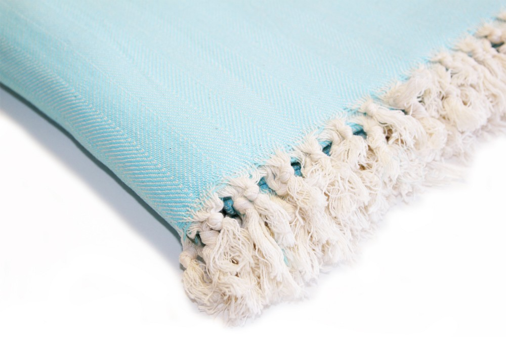 Handgewebte Decke Türkis